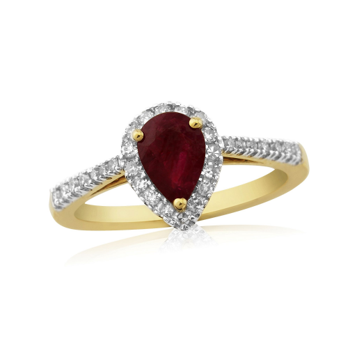 Yellow Gold Ruby And Diamond Pear Shaped Cluster Ring